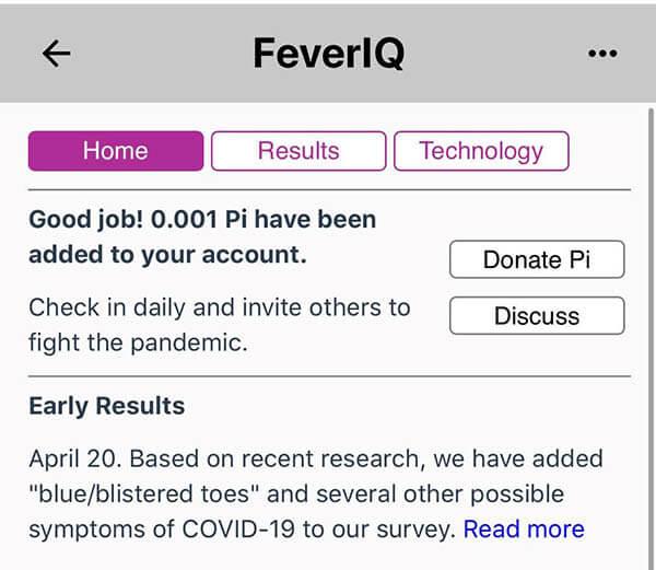 Pi发布第一个试点Pi应用 (5月6日)—来自第三方的FeverIQ